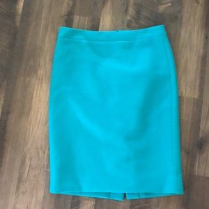 J. Crew No. 2 Pencil teal blue wool skirt size 6